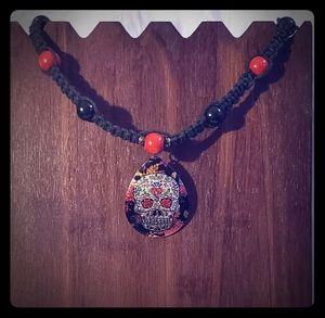 Handmade Hemp Cord Necklace w/Sugar Skull Pendant